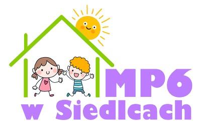 logo miejskie przedszkole nr 6 w siedlcach, dzieci w domku, słońce nad domkiem
