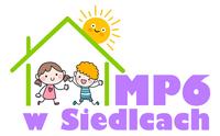 logotyp przedszkola dzieci w domku, słońce świeci nad domkiem