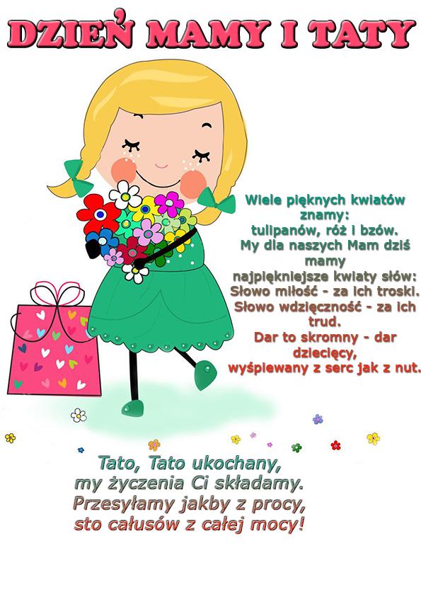 Obrazek dzieci - chłopiec i dziewczynka z życzeniami dla mamy i taty