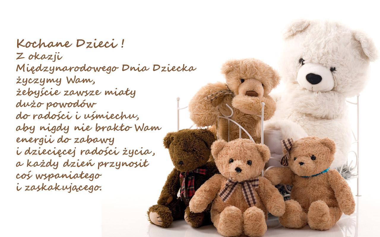 misie z życzeniami dla dzieci