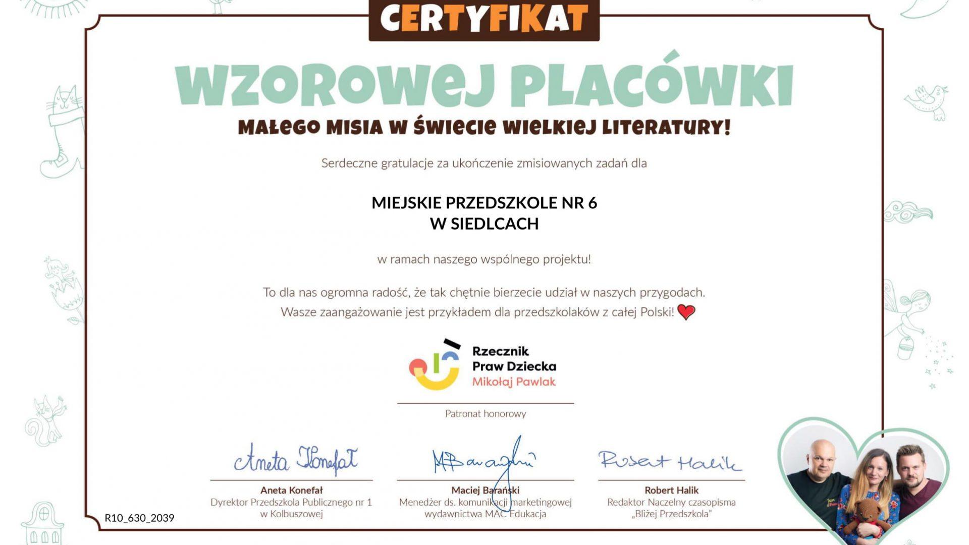certyfikat dla placówki