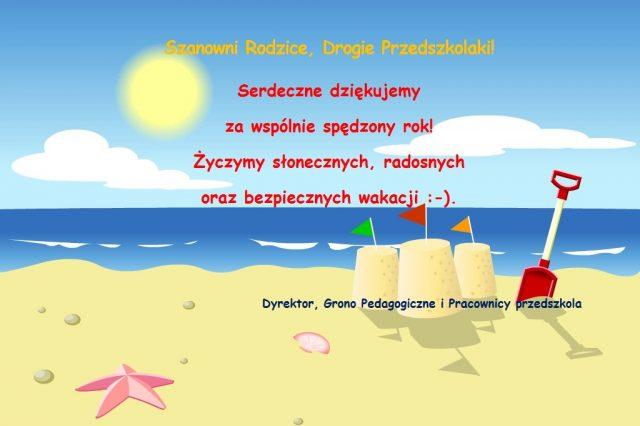 plakat życzenia wakacyjne