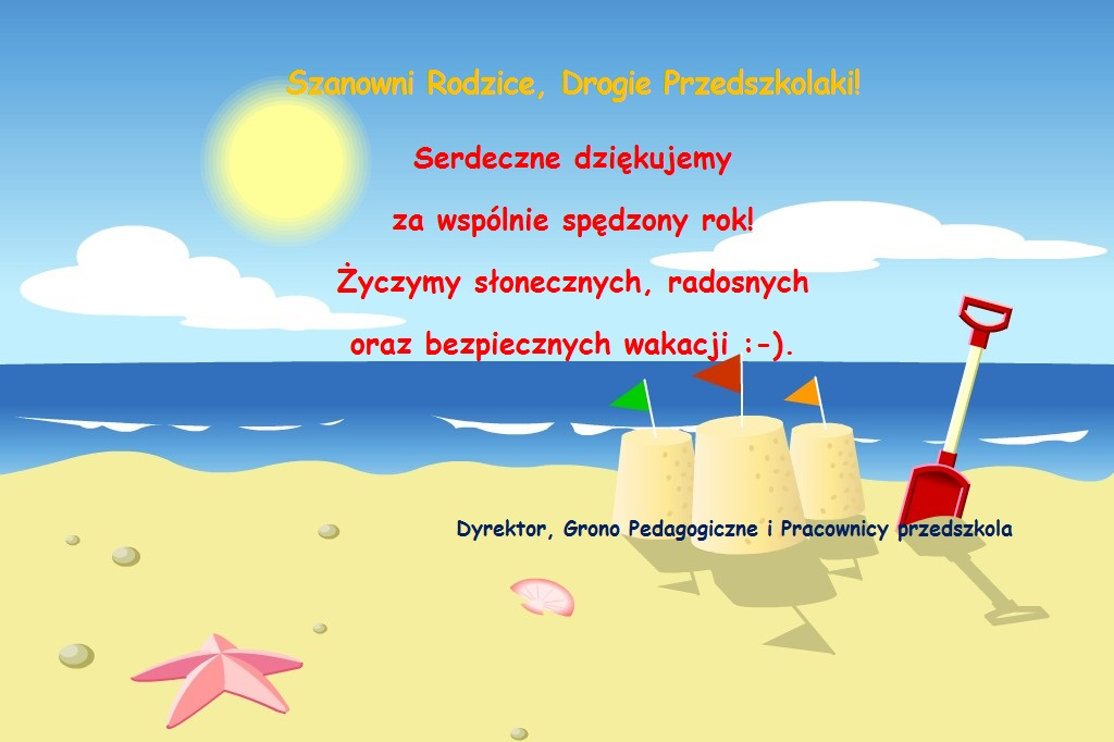 plakat życzenia wakacje