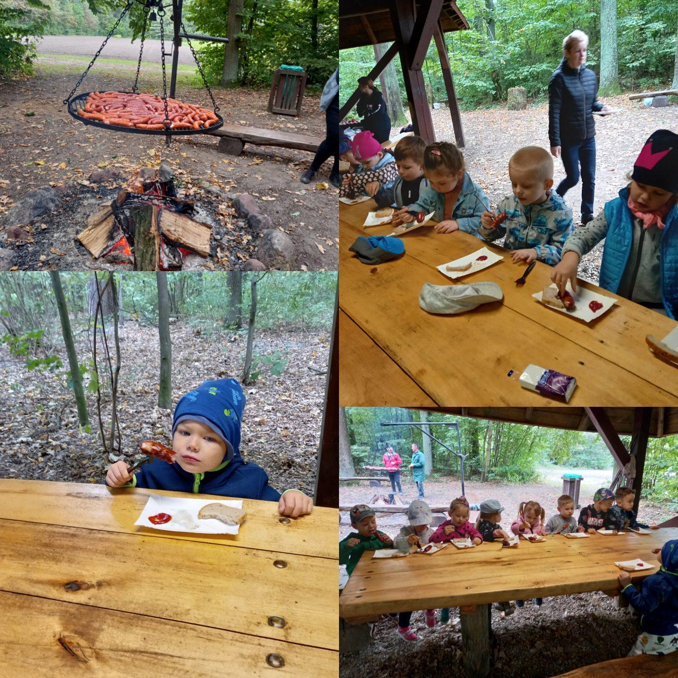 dzieci jedzą pieczoną kiełbaskę 2